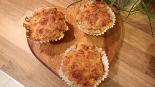 Muffinki z żołtym serem, szynką i szczypiorkiem