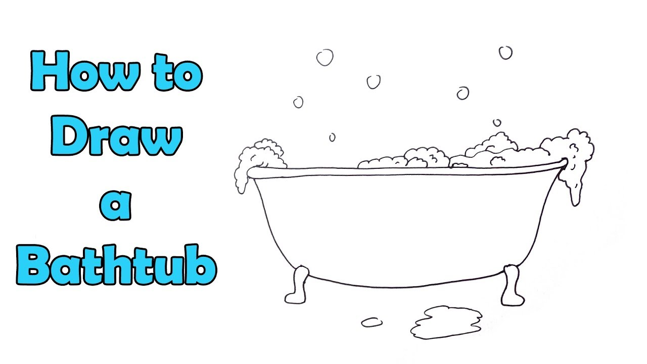 How To Draw A Bathtub With Soap Bubbles Very Easy For Kids Youtube