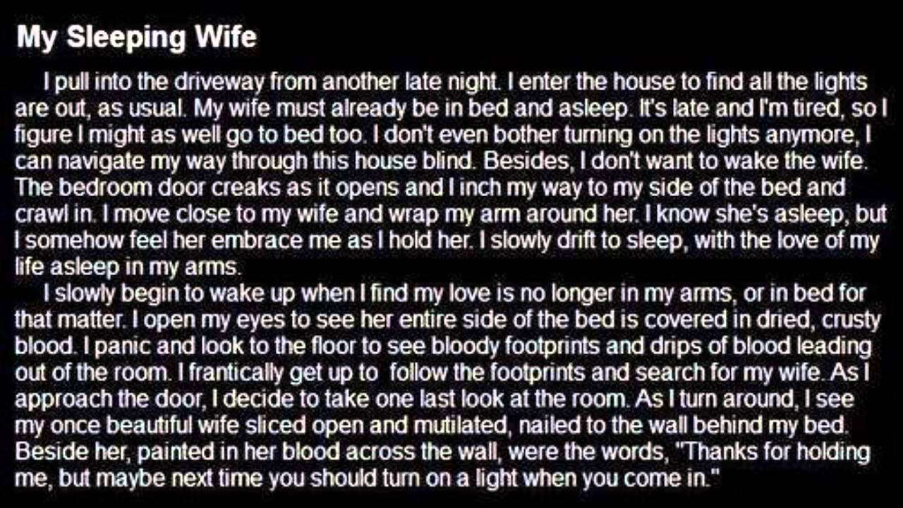 My sleeping wife - A short horror story