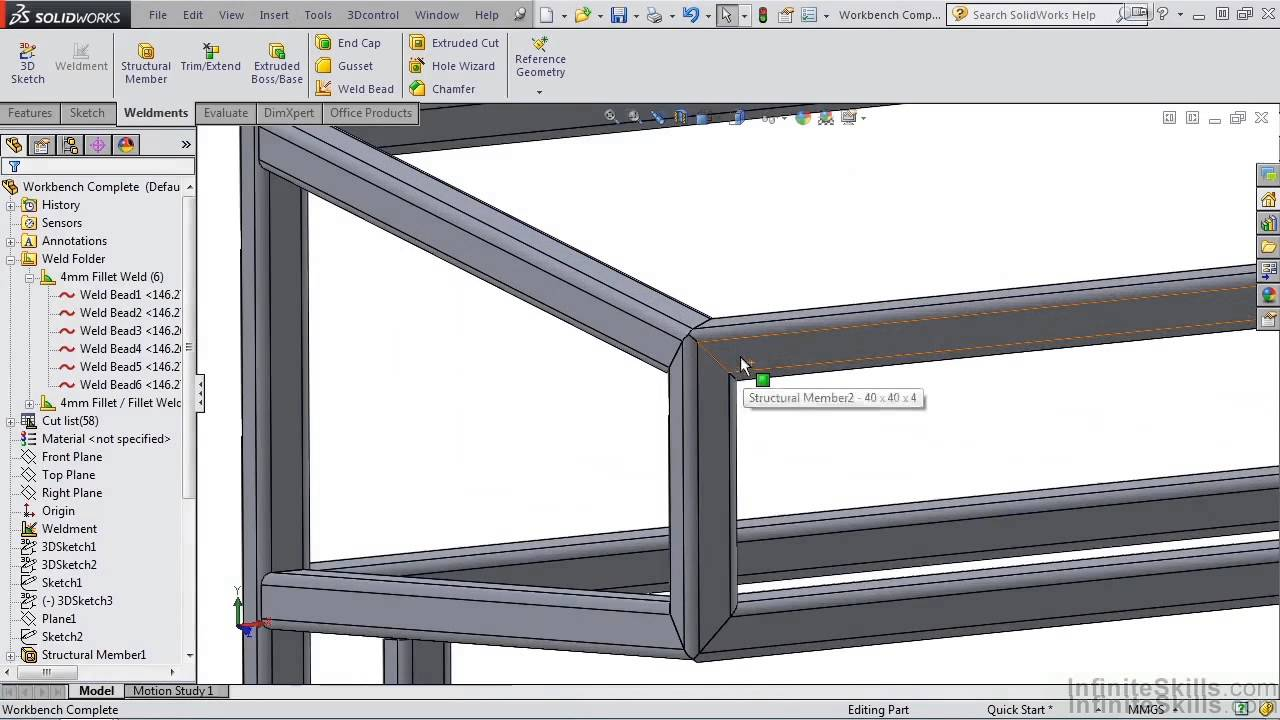 Solidworks Weldments Tutorial Adding A Weld Bead Table