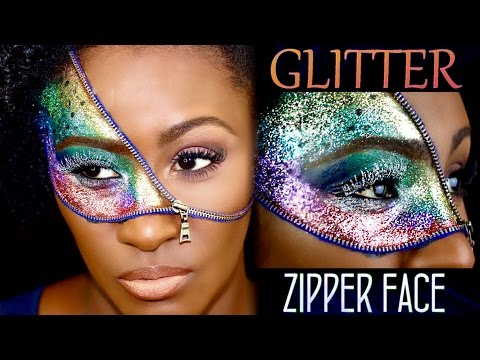 Zipper Face Glitter Halloween Makeup