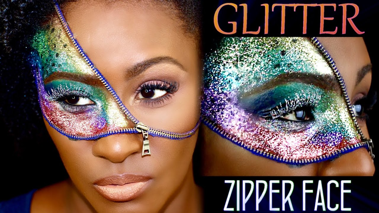 Zipper Face (GLITTER) Halloween Makeup | Shlinda1 - YouTube