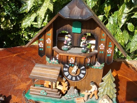 Music Swiss With Black Forest German Cuckoo Wall Clock & Pendulum  See Video