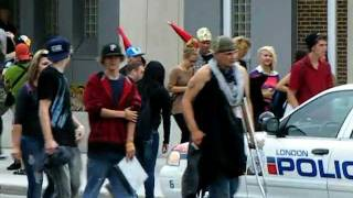London, Ontario, Canada: Protest: Police Station: Police Taser Youth in Face on September 22, 2011