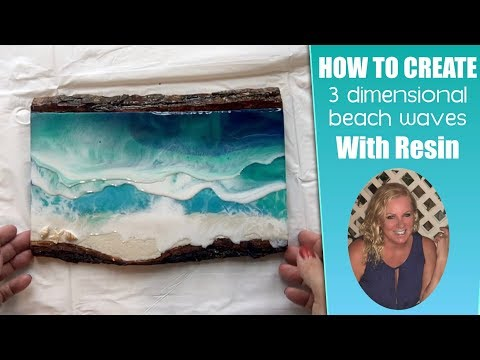 (42) How To Create 3D Resin Waves On a Beach Painting