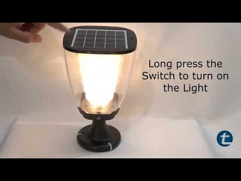 Product Demo of Solar Gate Light TTSGL2W with 100 Lumens and Inbuilt Li-ion Battery and Solar Panel.