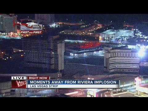 2nd implosion of the famous Riviera hotel-casino (Full version)