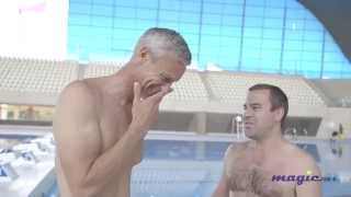 Mark Foster puts Justin Wilkes through his paces with a swimming masterclass