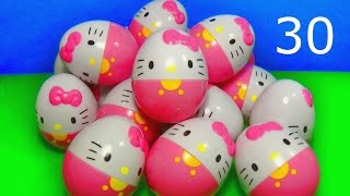 30 surprise eggs with toys HELLO KITTY and LPS!  Compilation for BABY