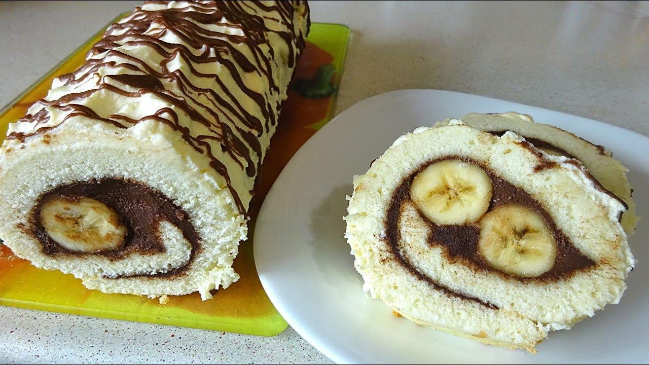 НЕОЖИДАННО!!! УЛЫБАЮЩИЙСЯ Шоколадный РУЛЕТ с Бананами / Очень ВКУСНЫЙ и НЕЖНЫЙ!