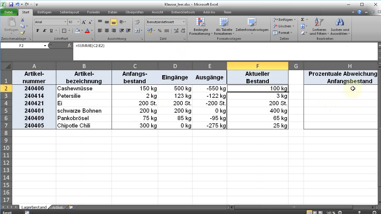 Excel Probeklausur Aufgabe 2.3 Prozentuale Abweichung - YouTube