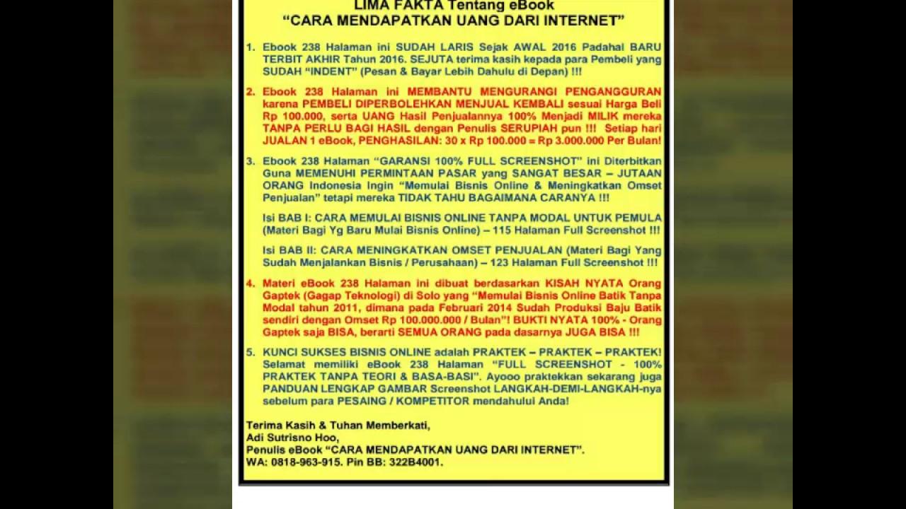 Fakta Ebook Cara Mendapatkan Uang Dari Internet 0818963915 ...