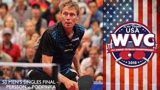 2018 World Veteran Championships - Mens Singles Over 50 Final - Jorgen Persson vs Andras Podpinka