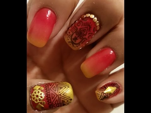African Sunset Tribal Nails