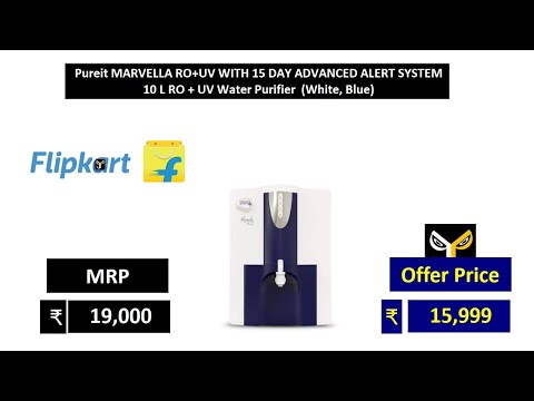 Pureit MARVELLA RO+UV WITH 15 DAY ADVANCED ALERT SYSTEM 10 L RO + UV Water Purifier White, Blue from YouTube · Duration:  2 minutes 6 seconds