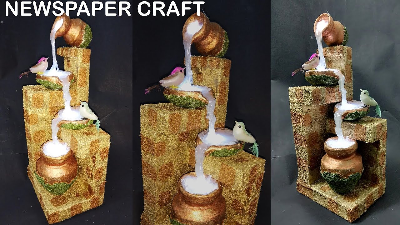 How to make newspaper waterfall showpiece newspaper for Showpiece from waste material