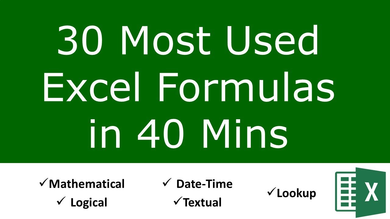20 Most Used Excel Formulas and Functions
