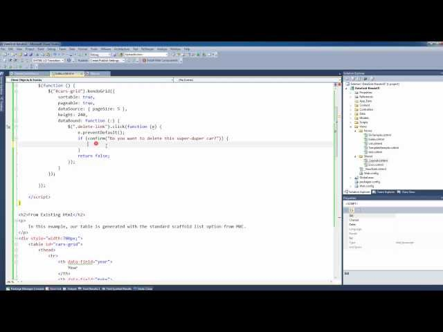Three ways to get started with KendoUI Grids on ASP NET MVC