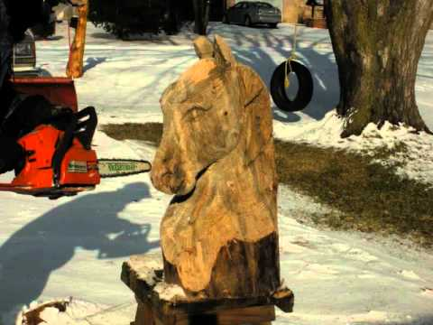 Horse head carving wmv youtube