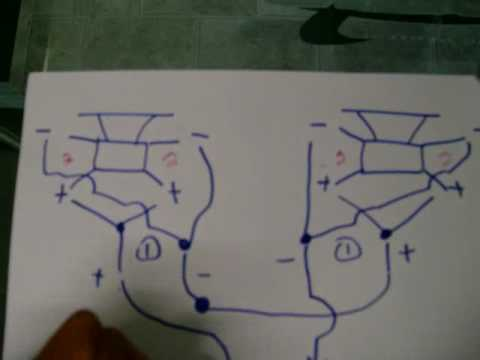 How to wire 2 dual 2ohm subs to 2 ohm for amplifier - YouTube