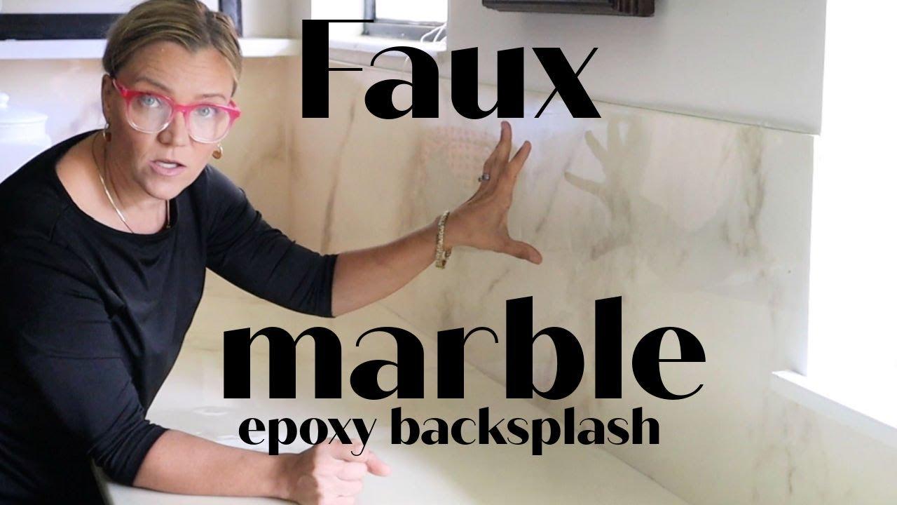Faux marble epoxy backsplash