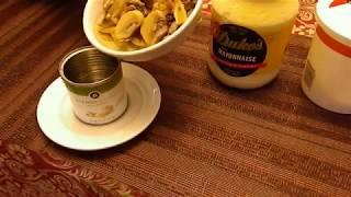 Грибы (шампиньоны) со сметаной.  Моментальное приготовление.