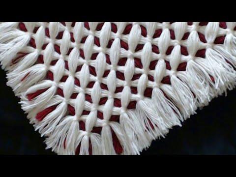 Pom pom blanket - Criss cross blanket -  Double sided reversable : Criss Cross