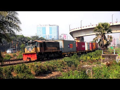 Bangladeshi Container Train Passing  Kuril Flyover, Dhaka, Bangladesh