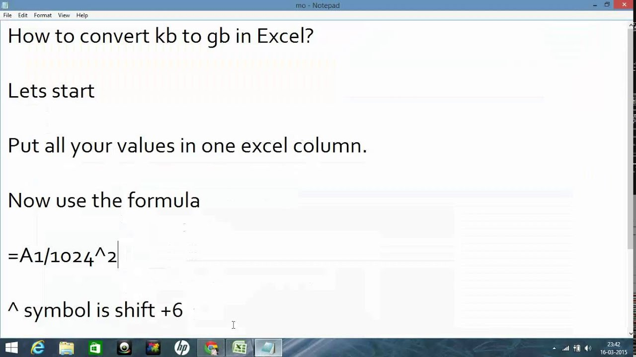 How to convert kb to gb in excel youtube how to convert kb to gb in excel geenschuldenfo Choice Image