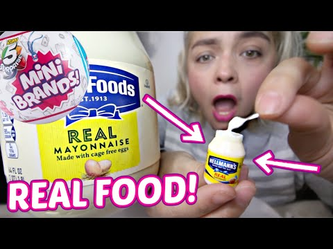 MINI BRANDS! OPENING MINI BRANDS & PUTTING REAL FOOD INSIDE!