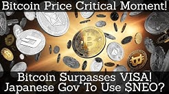 Crypto News | Bitcoin Price Critical Moment! Bitcoin Surpasses VISA! Japanese Gov To Use $NEO?