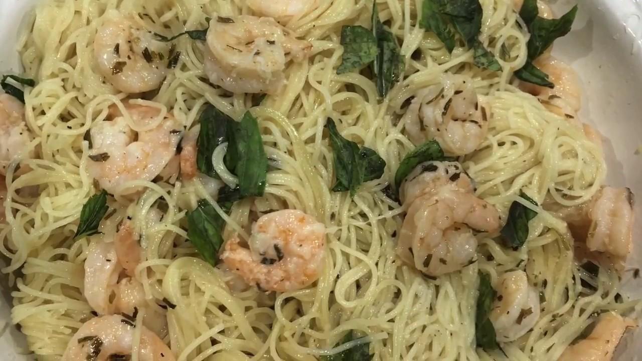garlic shrimp over angel hair pasta