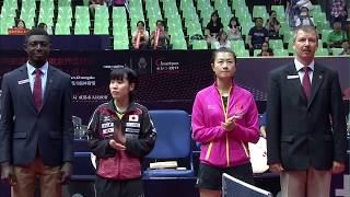 女子シングルス準々決勝 平野美宇(日本)VS 丁寧(中国)