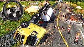 VIAGEM com OBRAS NA PISTA (DEU ACIDENTE) - Euro Truck Simulator 2 + G27