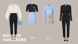 Shopping tips and capsule wardrobe example for the petite body type.