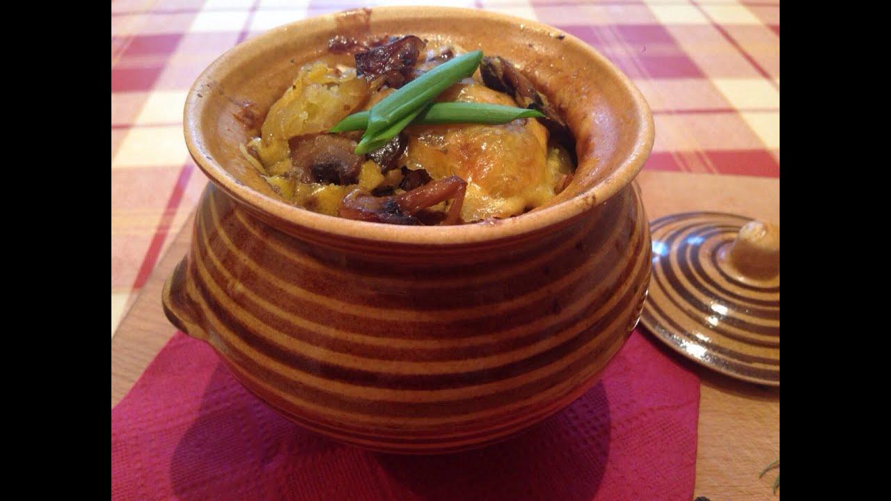 картошка с грибами в духовке в горшочке рецепт с фото