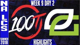 100 Thieves vs Optic Gaming Highlights | NA LCS Summer 2018 Week 9 Day 2 | 100 vs OPT