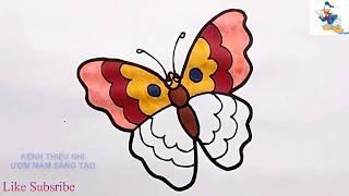Bé học vẽ tranh tô màu con bướm và nhân vật hoạt hình ♥ Tìm hiểu màu sắc nghệ thuật cho trẻ em