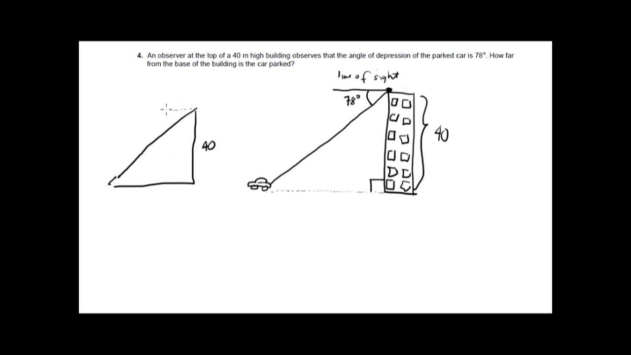 Example on Finding the Angle of Depression - YouTube