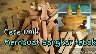 Proses pembuatan tebok lovebird kayu susun