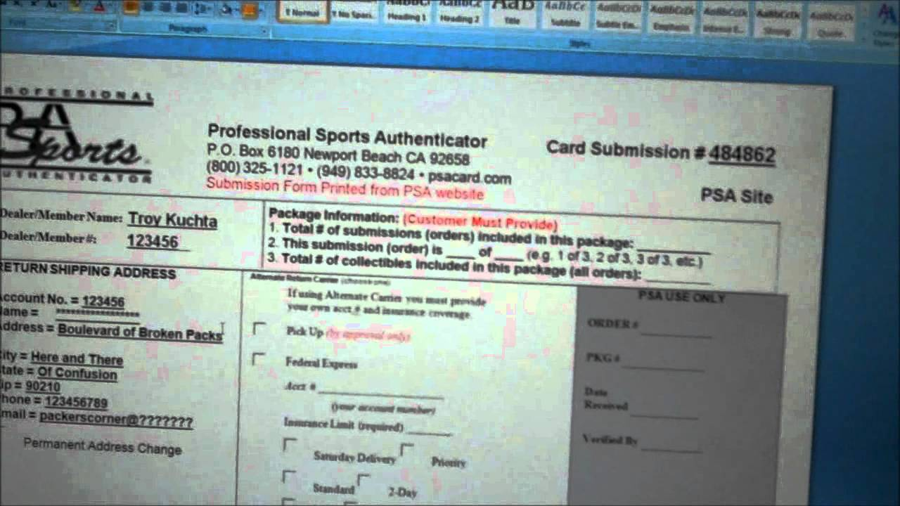 Creation Of New Psa Submission Form For Grading Cards Youtube