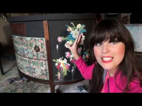 Dresser Makeover With Finger Painted Flowers with The Turquoise Iris
