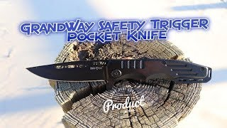 Grand Way- Black Tactical Pocket Knife with Safety Switch (6681 AN)