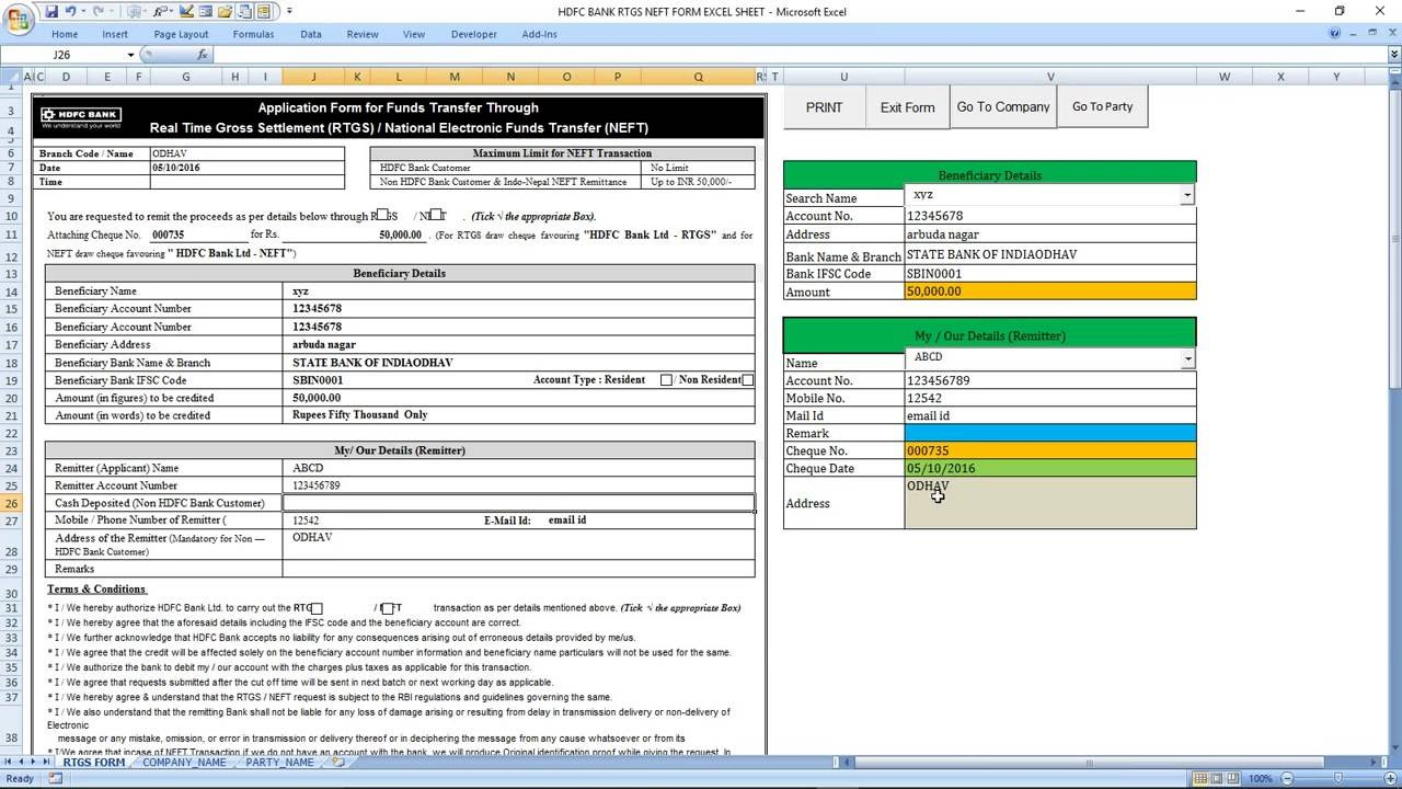 hdfc net banking form application