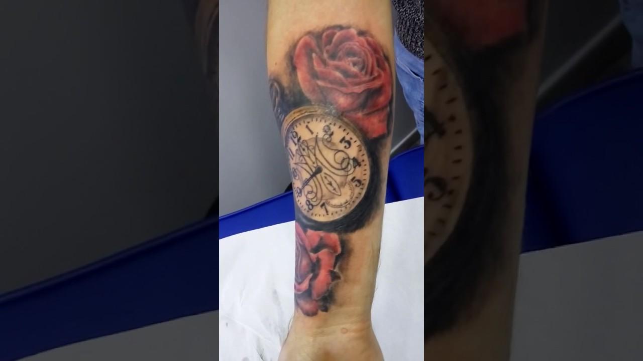 Tatuaje Reloj Y Rosas Youtube