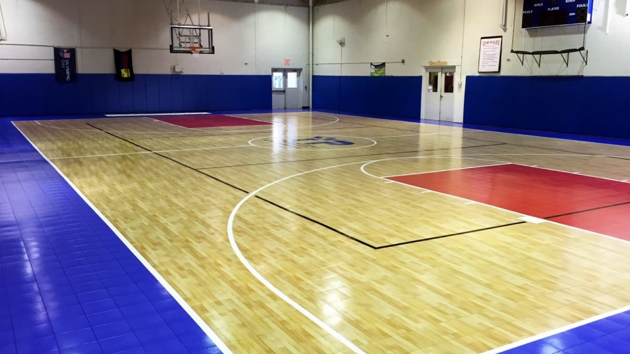 Indoor basketball court installation youtube for Indoor basketball court price