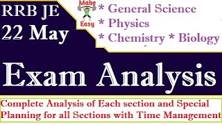 General Science 22 May Shift 1 Exam Analysis | RRB JE CBT1 | Physics,Chemistry,Bio | Questions Asked