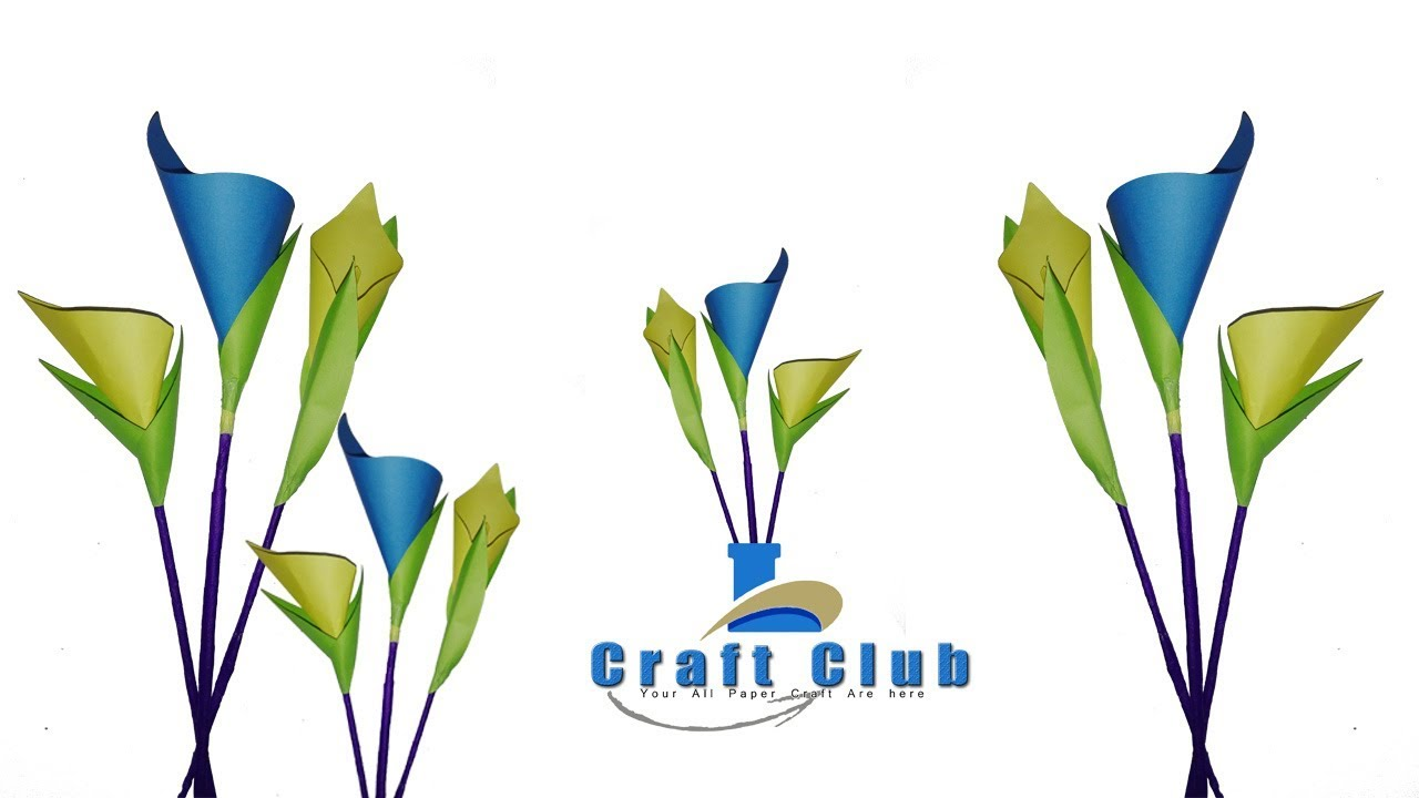 How to make calla lily paper flower easy origami flowers for how to make calla lily paper flower easy origami flowers for beginners making linas craft club dhlflorist Choice Image