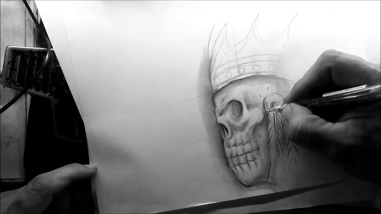 Calavera Tattoo Flash diseÑo de calavera para tatuar/chicano drawing/calavera chicana/flash tattoo