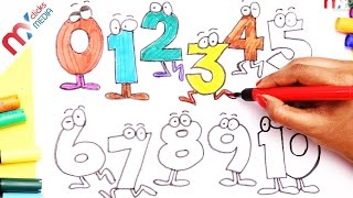 How to Draw & Color 1 To 10 Smiley Numbers With Crayons For Kids Learning Colors || My Kids Rhymes